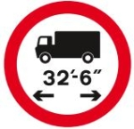 Length limit sign shows the maximum vehicle length that is permitted on this stretch of road