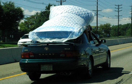 mattress on the roof