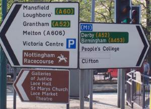 direction signs 52 and a453 nottingham
