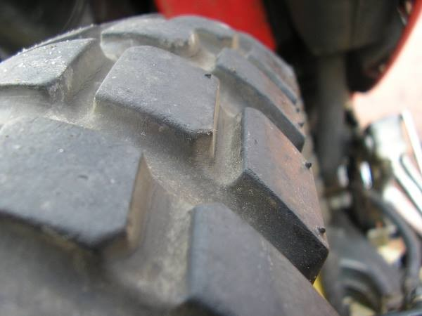 Off-road bikes tend to have deep tread on the tyres to give superior grip on mud and sand