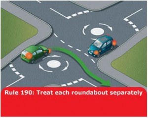 highway-code-rule-190-separate-roundabout