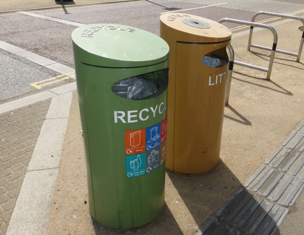 recycling bin and waste bin