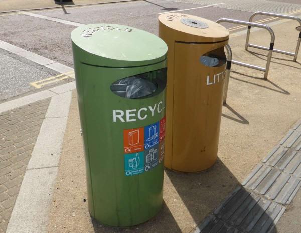 recycling bin and waste bin