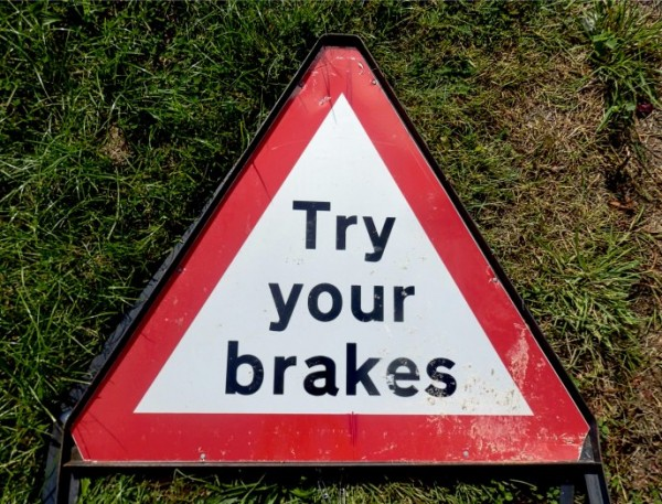 try your brakes sign