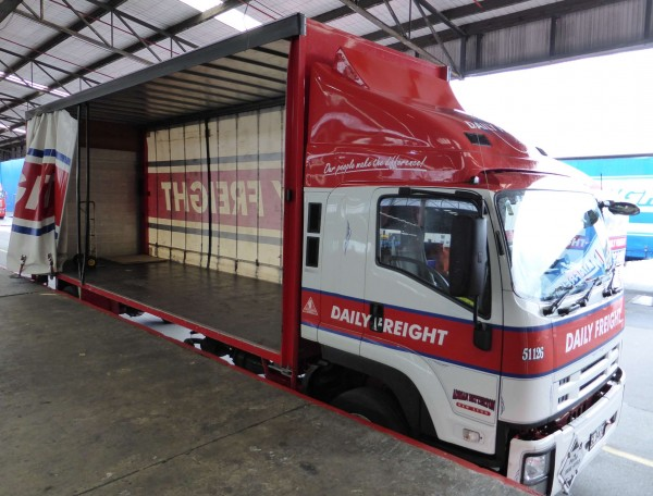 curtainside open on rigid truck