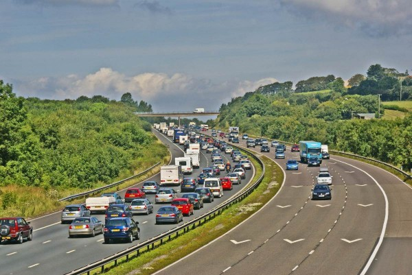 Traffic starts to back up on the motorway