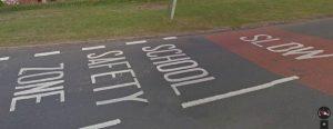 school safety zone road marking