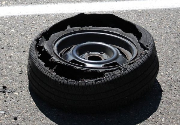 Tyre blowouts can be caused by a weakness in the sidewall which is breached if the tyre pressure becomes too high, or there's a sudden impact on the tyre like hitting a pothole at speed. More blowouts occur in summer.