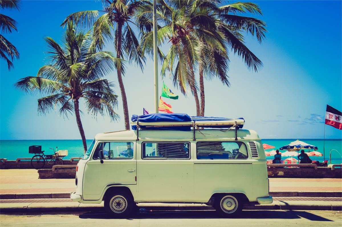 volkswagen campervan tropical beach