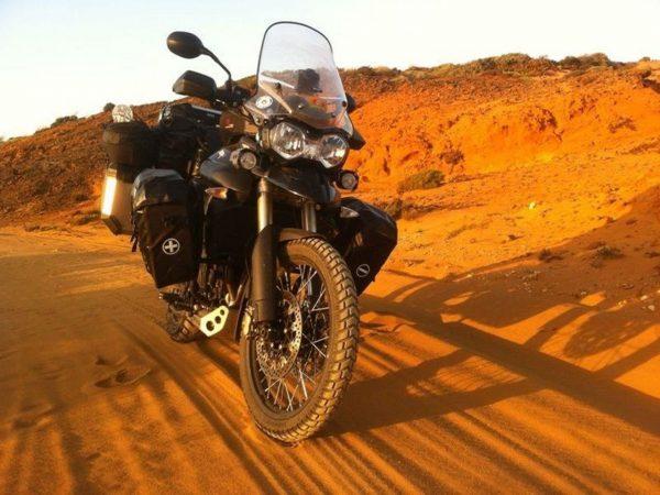 Touring motorbike in the desert