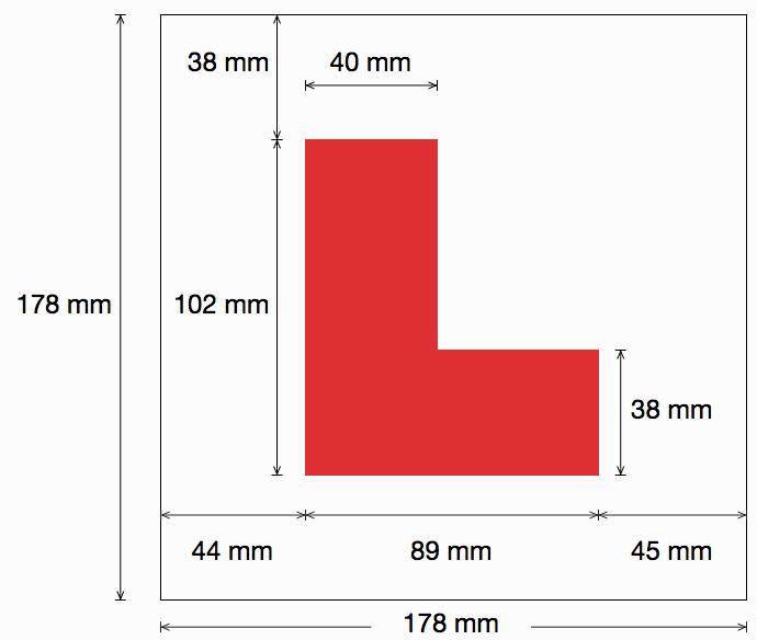 L plate dimensions